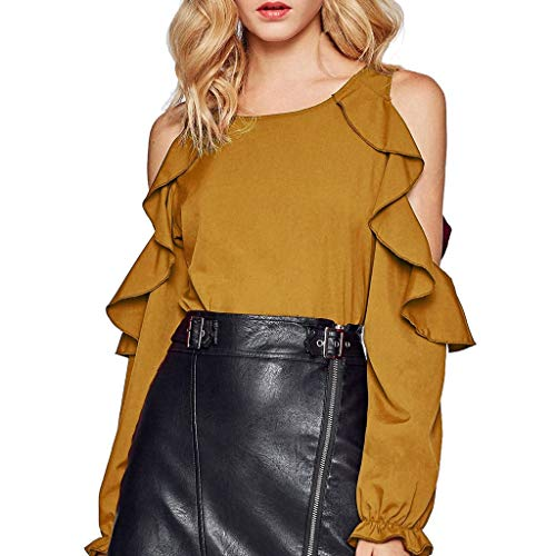 - Sunhusing Womens Solid Color Off-Shoulder Pleated Ruffled Long Sleeve Shirt Round Neck Openwork Tunic Top