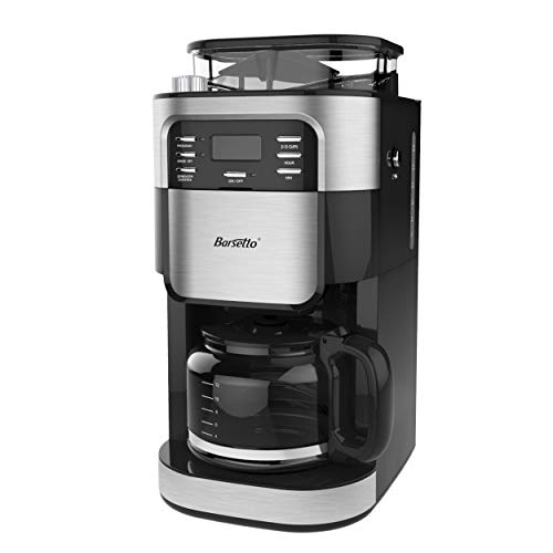 Grind & Brew Automatic Coffeemaker Barsetto Digital Programmalbe Drip Coffee Machine Brewer for Kitchen and Office