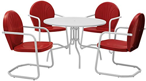 Crosley Furniture Griffith 5-Piece Metal Outdoor Dining Set with Table and Chairs - Coral - Vintage Furniture Metal Outdoor