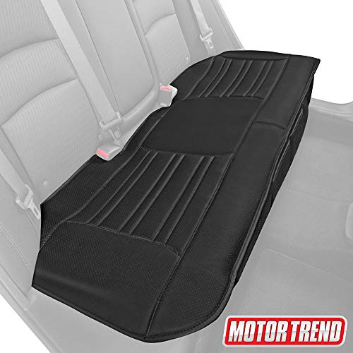Motor Trend MTSC-421 Universal Car Seat Cushion (Bench) - Padded Luxury Cover with Non-Slip Bottom & Storage Pockets - Black Faux Leather Rear Chair Protector for Auto, Truck & SUV