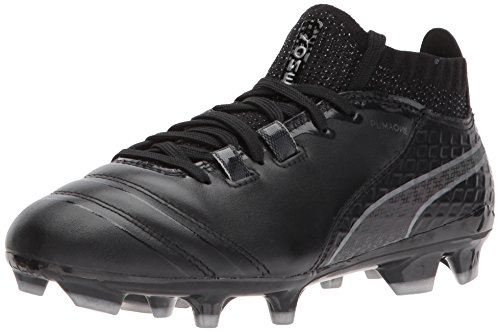 PUMA Unisex-Kids One 17.1 FG Jr, Black Black/Silver, 4.5 M US Big Kid