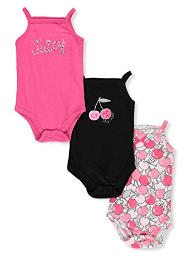 Juicy Couture Baby Girls 3 Pieces Pack Bodysuits, hot Pink/Black, 6-9 Months from Juicy Couture