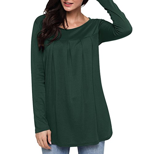 Rond Masterein vert fonc Tops Casual de Longues Femmes Manches Sweatshirt T col Shirt Couleur Filles Solides qERr6wE