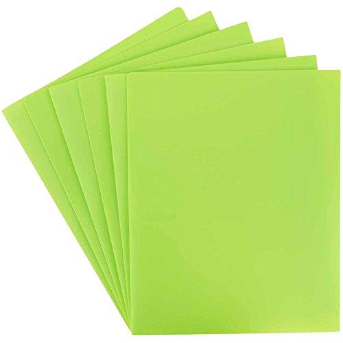 JAM PAPER Heavy Duty Plastic 2 Pocket School Folders - Lime Green - 6/Pack