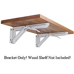 "10"" White Rolled Steel Triangle Table Bench Folding Shelf Bracket with Short Release Arm, Max Load: 132lb #10-SJXZJ-K (2 Pcs)"