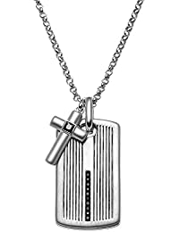 1/4 Carat T.W. Black Diamond Sterling Silver Cross Link & Textured Dog Tag Necklace - Men