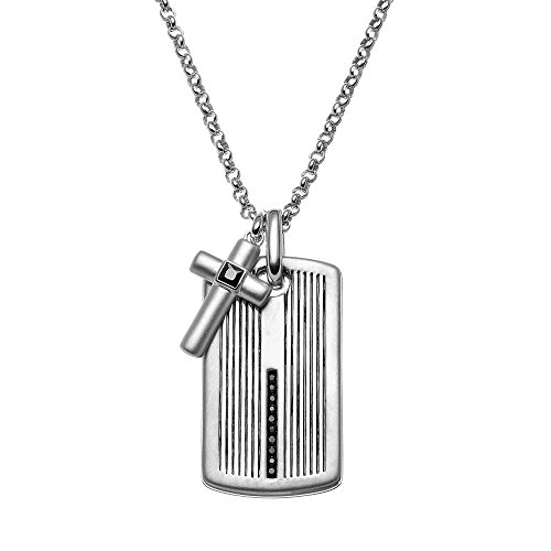 JewelMore 1/4 Carat T.W. Black Diamond Sterling Silver Cross Link & Textured Dog Tag Necklace - Men