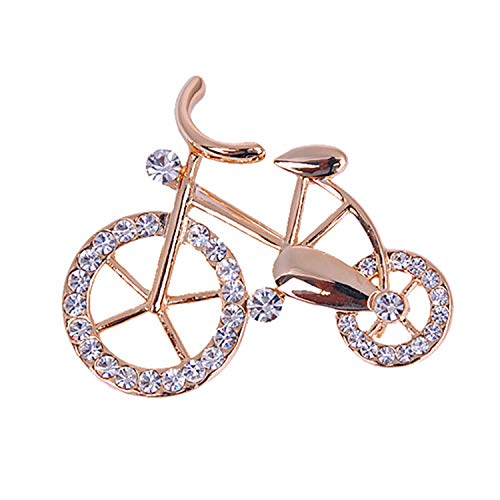 MYOSPARK Gold Tone Bike Bicycle Brooch Pin with Clear Crystal Sport Jewelry for Sportsperson Bike Lovers (Bicycle Brooch)