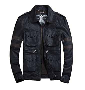 THOOO Motorcycle Biker Jackets Mens Classic Bomber Leather Coat Jacket-Black Brown-5XL