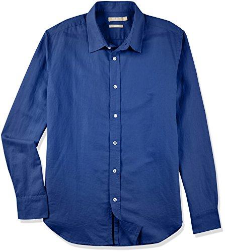 Isle Bay Linens Men's Slim-Fit Long-Sleeve Webbed-Placket Woven Shirt Navy Large