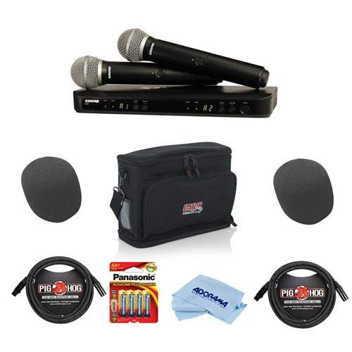 Shure BLX288 Dual-Channel Handheld Wireless System2 PG58 Handheld Mics, J10: 584-608 MHz FrequencyBand - Bundle with Gator Carry Bag, 2x 10' 8mm XLRMic Cable, 2x On-Stage Foam Windscreen, And More by Shure