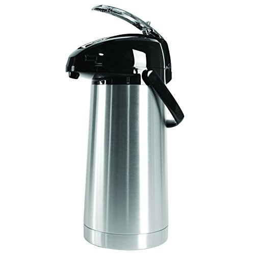 Service Ideas SAL30 Airpot with Lever, Stainless Steel Lined, 3.0 L, Brushed with Black ()