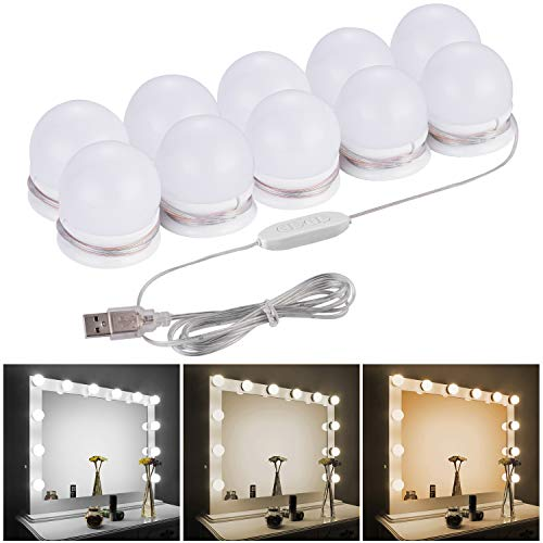 LED Vanity Mirror Lights Kit - Camel Home Upgraded 3 Dimmable Color with10 Led Light Bulbs for Makeup Dressing Table, Hollywood Style Lighting Fixture Strip with USB Charging Cable(Mirror not include)