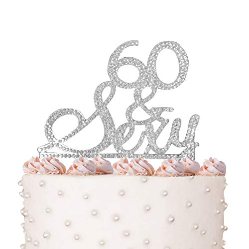 Price comparison product image Rhinestone Crystal Cake Topper Silver,  Gold Numbers,  Letters,  Bling Love,  Wedding,  Birthday,  Anniversary, Sparkles,  Shine,  Party Decorations Supplies (60 & Sexy (silver))
