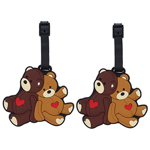 Animal Luggage Tags Cute Suitcase Labels (Set of 2) Teddy ()