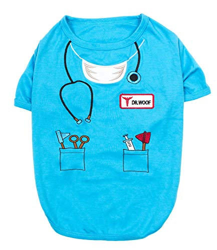 Funny Doctor Halloween Costumes (Parisian Pet - Funny Dog Cat Pet Costumes, Shirt Outfits for Halloween - Police, Prisoner, Ketchup, Mustard, Doctor, Firefighter, Sailor, Pirate (Dr Woof - Doctor,)