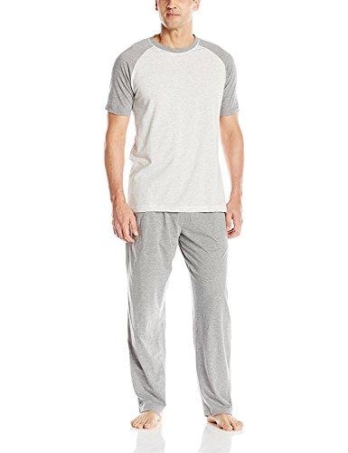 Hanes Men's Adult X-Temp Short Sleeve Tagless Cotton Raglan Shirt and Pants Pajamas Pjs Sleepwear Lounge Set - Grey (Large) (Mickey Mouse Lounge Pants For Men)