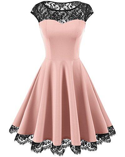 Homrain Women's Vintage 1950s Floral Lace Scoop Neck Cap Sleeve Cocktail Party Dress Pink XL