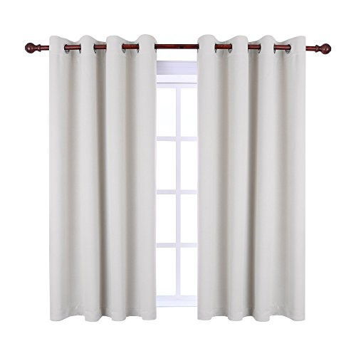 (KEQIAOSUOCAI Inherent Flame Retardant Curtains 250GSM Room Darkening Thermal Insulated Grommet Blackout Curtain Panel for Bedroom Living Room,1 Panel,52Wx63L,Off White)