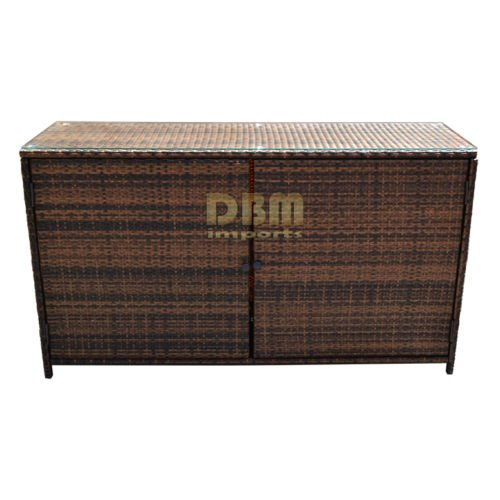 "59''x 18"" Wicker Serving Buffet Table Bar Counter Pool To..."