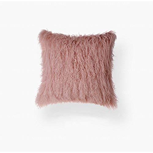 (50cm x 50cm, Pink) - ROSE FEATHER Real 100% Tibetan Mongolian Lamb Sheepskin Wool Fur Super Soft Plush Leather Pillowcase Cushion Cover,Pink 50cm x 50cm 20x20inch ピンク B01N4X4AGE