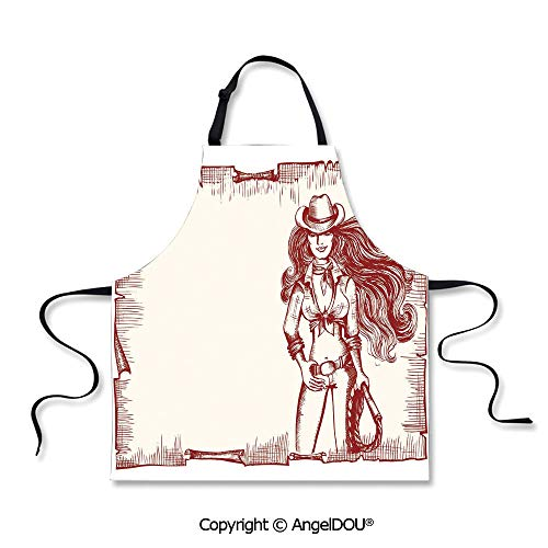 SCOXIXI Printed Kitchen Apron for Woman Man Sexy Young Cowgirl with Lasso Old Paper Style Background Hairstyle Vintage Frame for Grill BBQ Cooking Cosplay Party. ()