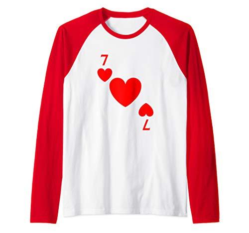 Seven of Hearts Playing Card Costume Halloween Deck Cards  Raglan Baseball Tee -