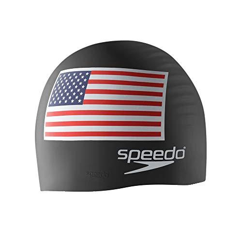 Speedo Silicone 'Flag' Swim Cap, Black, One Size