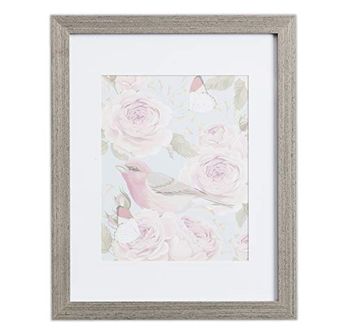 18x24 Picture Frame Grey Wood - Matted for 12x18 Poster, Frames by EcoHome