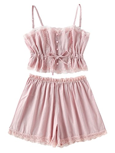 SheIn Women's Lace Cami and Shorts Pajamas Set Sleepwear Nightwear X-Large ()