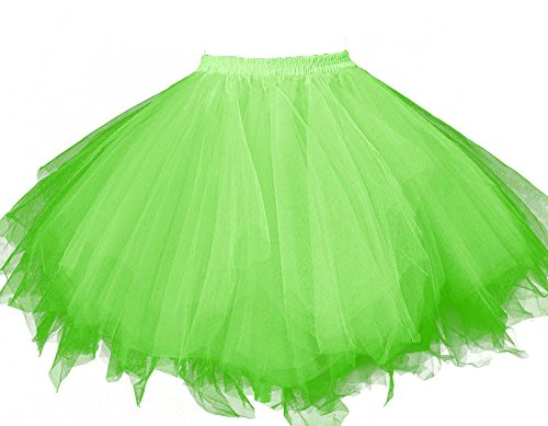 1880's Ladies Costume (MsJune Women's 1950s Vintage Petticoats Crinolines Bubble Tutu Dance Half Slip Skirt Green-L/XL)