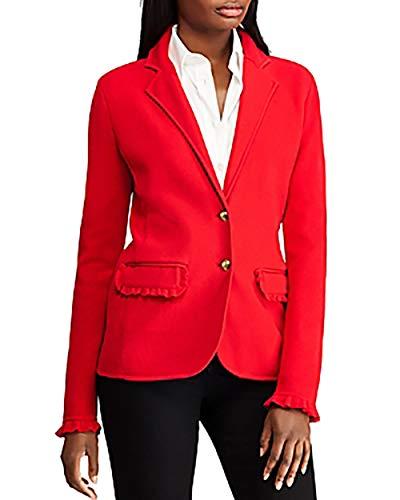 Ralph Lauren Ruffle-Trim Cotton Blazer Lacquer Red Medium (Lauren Womens Blazer Ralph)