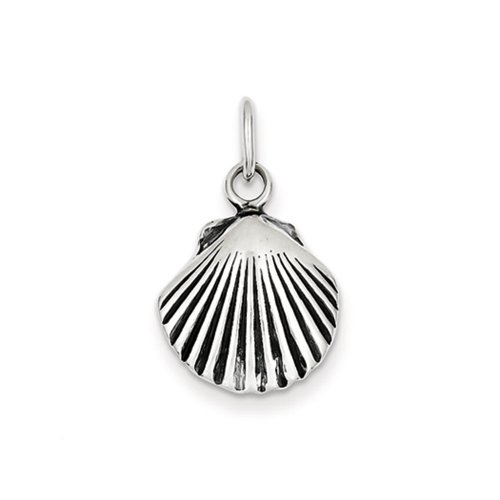Scalloped Shell Charm (Sterling Silver 15mm Antiqued Seashell Charm or Pendant)