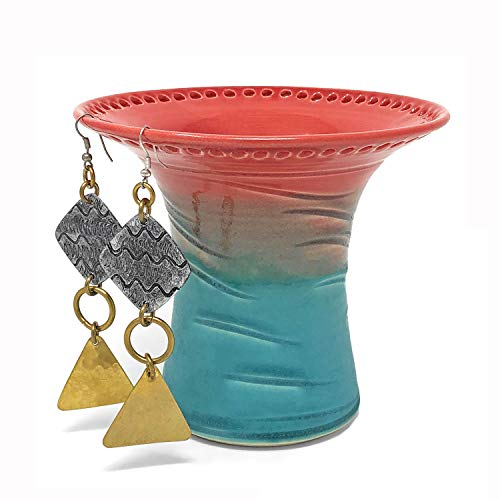 Barb Lund Pottery Earring Holder, Coral/Turquoise