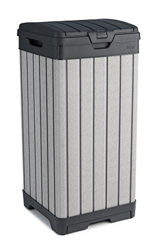 Keter 237924 Rockford Duotech Outdoor Plastic Resin Trash Can, Grey