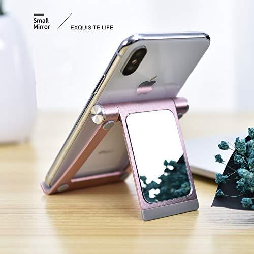 YoShine Cell Phone Stand Portable Foldable Adjustable Aluminum Phone Holder - Rose Gold