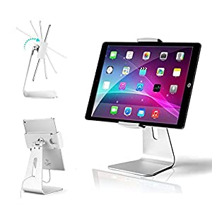 AboveTEK Elegant Tablet Stand, Aluminum iPad Stand Holder, Desktop Kiosk POS Stand for 7-13 inch iPad Pro Air Mini Galaxy Tab Nexus, Tablet Mount for Store Showcase Office Reception Kitchen Countertop