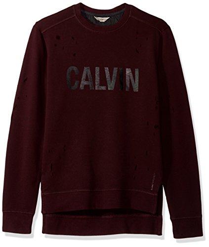 Calvin Klein Jeans Men's Distressed Calvin Crew Neck Sweatshirt, Spiced Currant, - Jeans Calvin Distressed