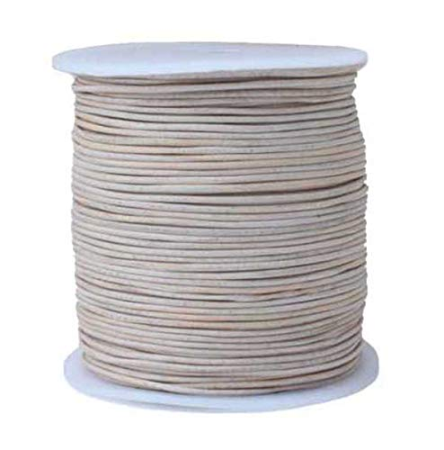 (Round Leather Cord, 100 Meters Bulk Spool, 1.0 Millimeter Natural)