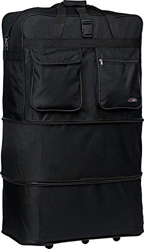 """BLACK 40"""" Polyester Expandable Rolling Wheeled Duffel Bag, Spinner Suitcase, NEW"""