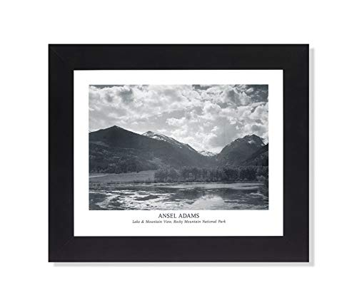 Ansel Adams Lake Mountain B/W Photo Wall Picture Framed Art Print