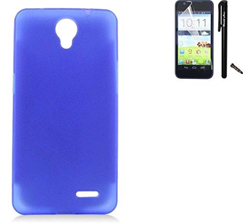 For ZTE Warp 7 Case / ZTE Uhura Case / ZTE Grand X 3 Case Soft Plastic TPU Gel Rubber Skin Candy Phone Cover+Screen Protector+Stylus(Blue)