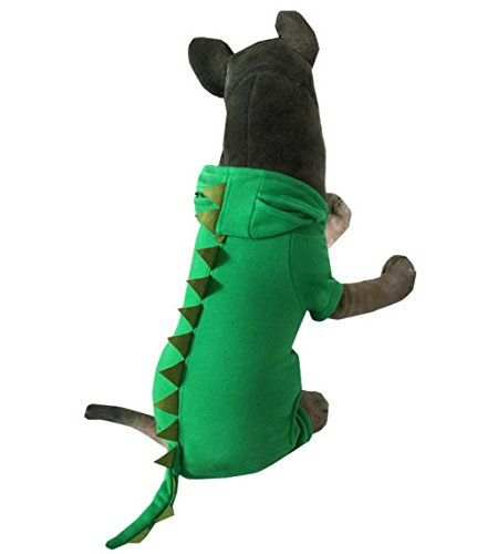 70's Costumes For Couples Ideas (SELMAI Pet Dinosaur Costume Dog Pajamas Hooded Jumpsuit Fleece Coat Medium Large Dog Clothes Green 3XL)