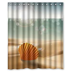 "Custom Waterproof Bathroom Shower Curtain 60"" x 72"" Ocean Theme Sunrise Sea Life Starfish on Summer Beach"