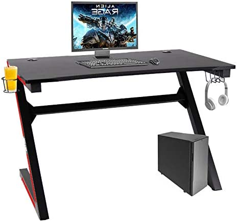 Polar Aurora Z-Sharped Gaming Desk 45.1″ W x 27.4″ D Home Office Computer Table