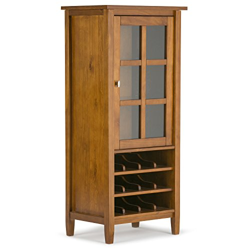 Home China - Simpli Home AXWSH008 Warm Shaker 12-Bottle Solid Wood 23 inch wide Rustic High Storage Wine Rack Cabinet in Honey Brown