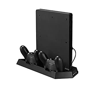 Younik PS4 Slim Vertical Stand Cooling Fan with dualshock Controller Charging Station and USB HUB Charger Ports - 4 in 1 stand for PlayStation 4 Slim