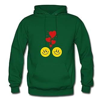 Long-sleeve Vogue Smileys_in_love_c3 Cotton Hoody X-large Women Green