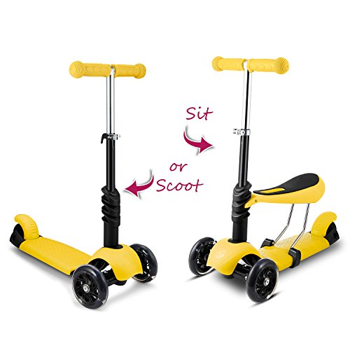 Hikole 3-in-1 Kick Scooter for Toddler Kids with Seat | Three-Wheeled Mini Foldable Adjustable Scooter with Seat, Birthday Present for Boys Girls 2-6 Years Old (Yellow)