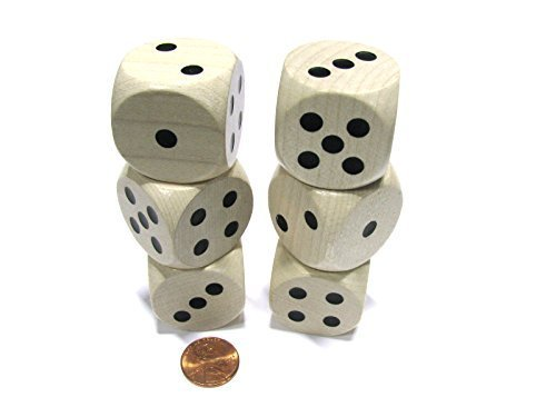 Wooden with Black Pips Koplow Games Set of 6 D6 Large Jumbo 30mm Rounded Wood Dice